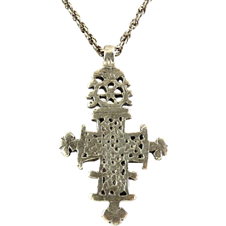 Sterling Silver Ethiopian Cross Pendant on Sterling Chain - Heavy Cast Design