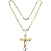 Sterling Silver Filigree Crucifix Cross on Silver Mariner Link Chain