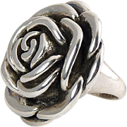 Sterling Silver Full Bloom Rose Ring- Big Bloom