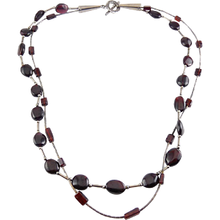 Native American 2-Row Sterling Silver & Red Garnet Beads Necklace - Signed