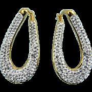 Sterling Silver Gold Overlay Twist Oval Hoop Earrings, Rhinestone Pave, Pierced