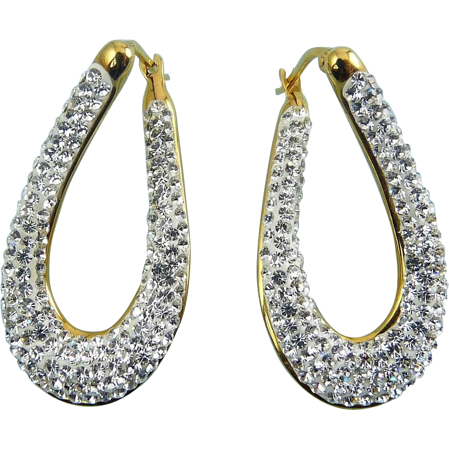 Sterling Silver Gold Overlay Twist Oval Hoop Earrings, Rhinestone Pave, Pierced