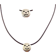 Reversible Sterling Silver Happy Face / Sad Face Pendant on Black Cord Necklace