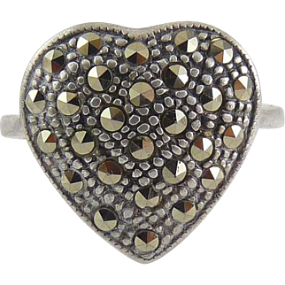 Sterling Silver Heart Ring, All-Over Marcasite Pave'