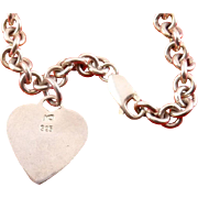Heavy Sterling Silver Bracelet with Heart Charm - Engraveable