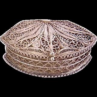 Vintage Sterling Silver Filigree Rosary Box Case, Holder -Italian