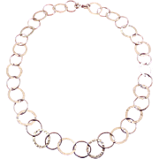 "Italian Sterling Silver Open Circles Necklace, 18"", Hammered & Polished Textures"