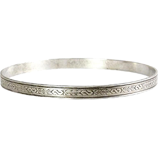 1940's Sterling Silver Bangle with Leafy Garlands and S Curves