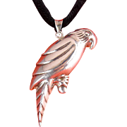 Large Sterling Silver Puffy Parrot 3-D Figural Pendant