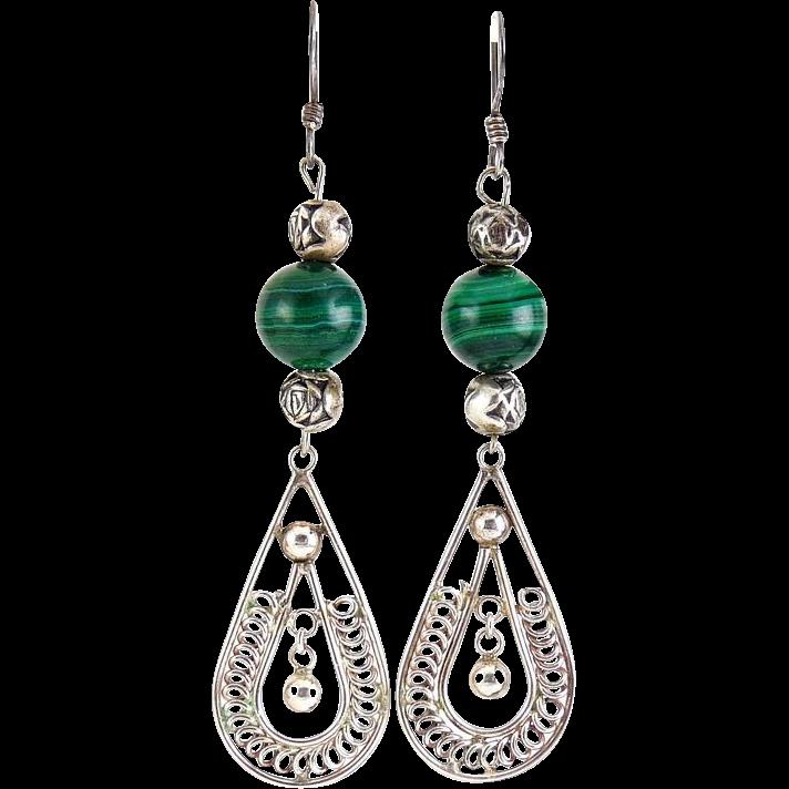 Sterling Silver & Green Malachite Bead Earrings - Teardrops with Rosebud Bead Accents