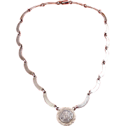 Sterling Silver Aztec Mayan Calendar Necklace, Contoured, Solid Links
