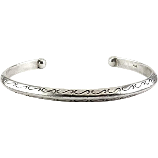 Sterling Silver Southwest Native American Cuff with Peaked Center & Scrolls