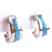 Sterling Silver & Opal Mosaic Inlay \Hoop Earrings, Pierced Omega Backs