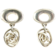 Sterling Silver Oval Top Earrings with Wire Knot Ball Drops- Pierced