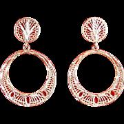 Sterling Silver Dangle Hoop Earrings with Pierced Designs & Diamond Cutting