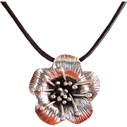 Sterling Silver Poppy Flower Pendant on Black Cord Necklace