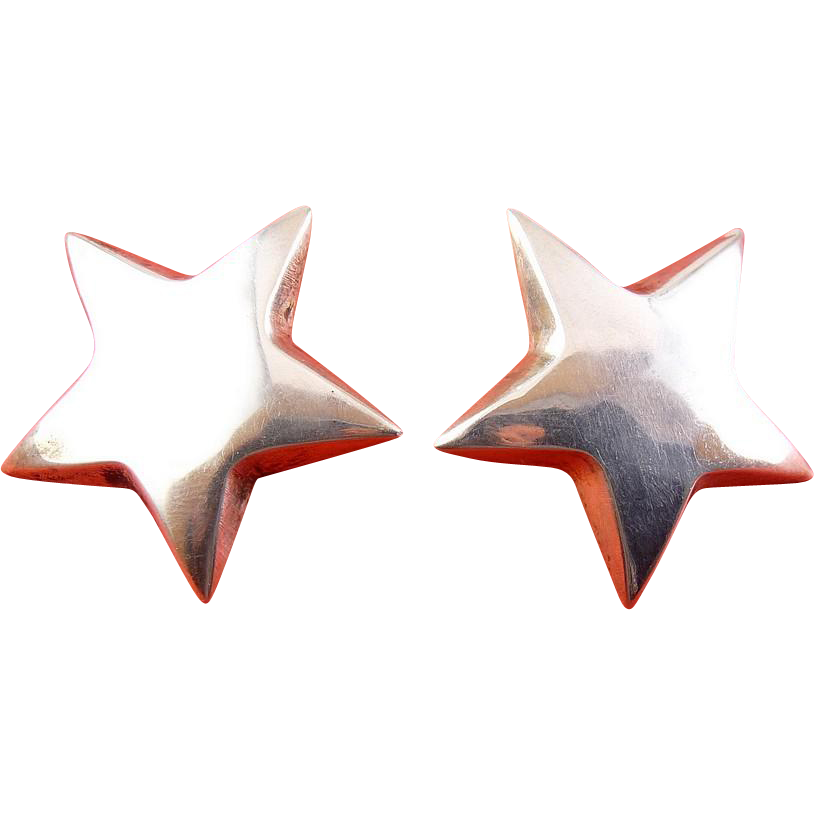 Sterling Silver Puffy Star Earrings, Pierced
