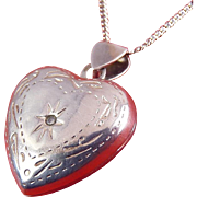 Sterling Silver Puffy Heart Locket with Diamond , Sterling Necklace