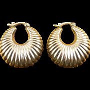 Sterling Silver Puffy Ribbed Hoop Earrings, Pierced