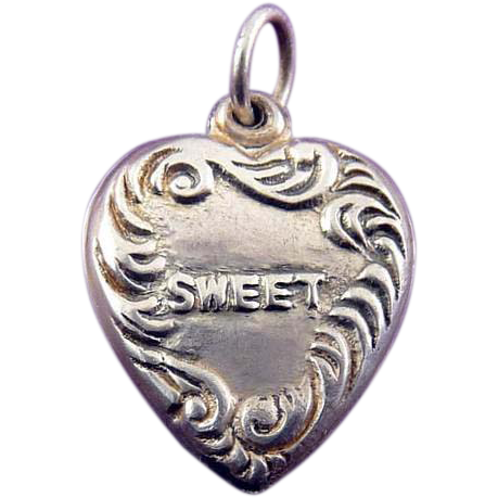 C1930 Sterling Silver Puffy Heart - Embossed SWEET (Sweetheart Charm)