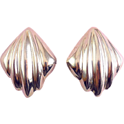 Large Sterling Silver Ribbed Diamond Clip-On Earrings
