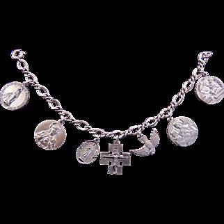 Sterling Silver Saints 7 Charms Bracelet:  Jesus, Mary, St Joseph, St Anthony, St Jude