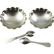 Pair of Sterling Silver Individual Footed Salt Dip Dishes, Footed Bowls, with Spoons