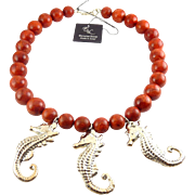 Coral Beads & Sterling Silver Seahorses Necklace - E&L Israel