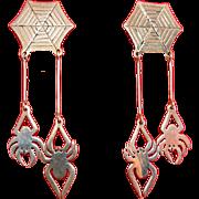 Sterling Silver Spiders & Web Long Dangle Earrings - Pierced, Mexican
