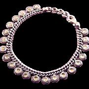 Sterling Silver Sun Disk Multi Charms Bracelet, Adj. Length