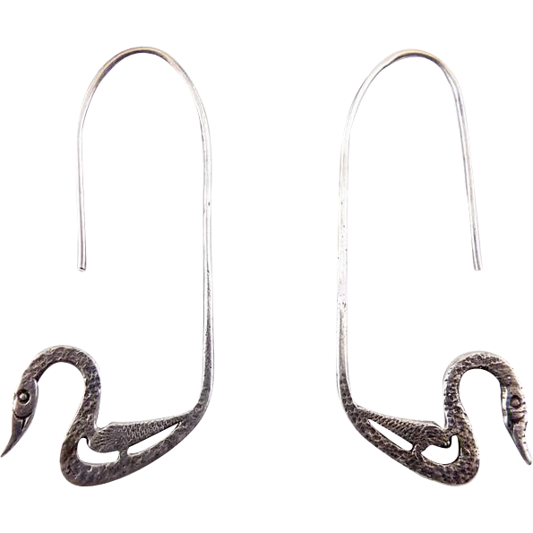 Sterling Silver Long Wire Earrings with Swan Ends