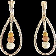 Sterling Silver Teardrop Hoop & Tricolor Diamond Dust Beads Earrings - Pierced
