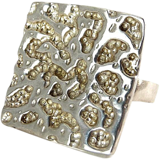 Sterling Silver Modernist Textured Square Ring