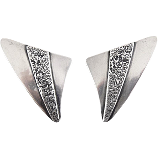 Vintage Sterling Silver Triangle Earrings with Molten Textured Band - Clip On