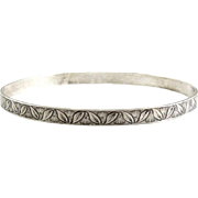 1940's Sterling Silver Tropical Leaves & Flowers Bangle Bracelet