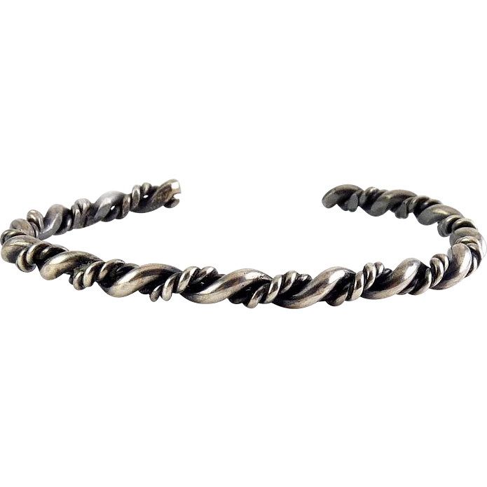 Vintage Hand Made Sterling Silver Twisted Wires Cuff Bracelet