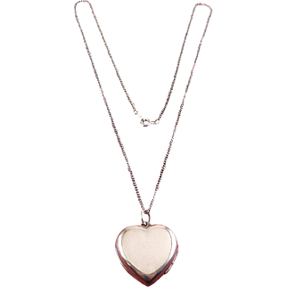 English Sterling Silver Heart Double Photo Locket, Sterling Chain Necklace