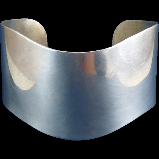 Wide Sterling Silver Wave Cuff Bracelet – 39 Grams