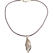 Fine Sterling Silver Real Leaf on Brown Cord Necklace with Sterling Clasp- PMC, Willow