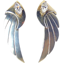 Long Sterling Silver Wing Shape Earrings with CZ Marquises Stones, Pierced