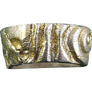 Sterling Silver Cast Band Ring with Realistic Wood Grain Texture