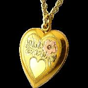 1940's Tricolor 10K Gold on Sterling Silver Heart Locket Necklace - Engraved Flower, Heart Reserve for Monogram