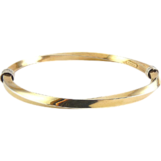 Sterling Silver & 10K Bonded Gold Spiral Twist Oval Bangle, Two-Tone