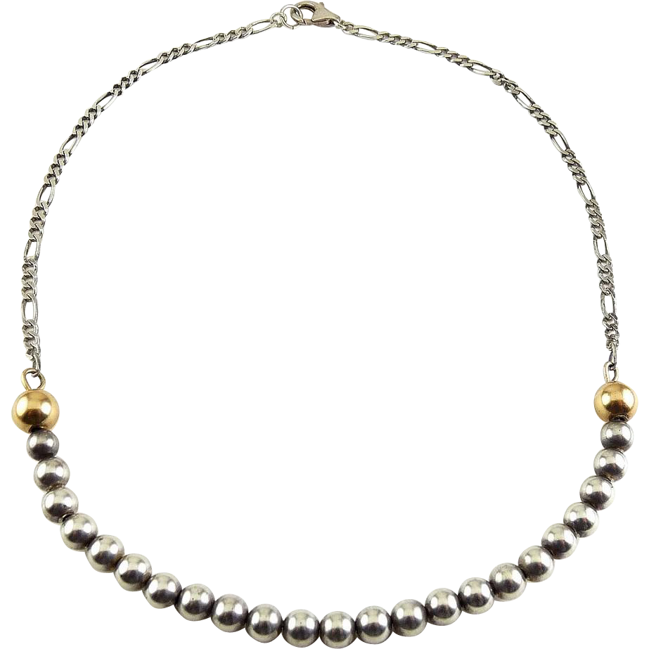 Sterling Silver & 14K Gold Beads on Curved Front Arc Necklace