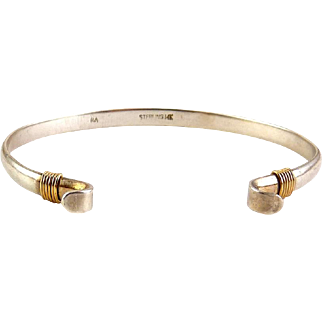 Sterling Silver & 14K Yellow Gold Cuff Bracelet with Curled Ends, Signed