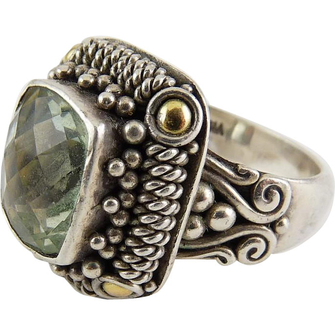 Sterling Silver & 18K Gold Prasiolite Ring - Rich Detailing, Checkerboard Faceting