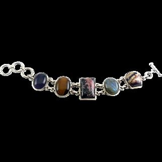Sterling Silver 5 Gems Bracelet - Amethyst, Labradorite, Rhodonite, Tigers Eye, Pink Quartz