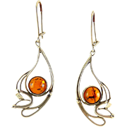 Sterling Silver Paisley Teardrop Dangle Earrings with Baltic Amber Cabochons, Pierced