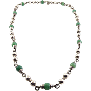 Mexican Sterling & Green Aventurine Beads Long Necklace -Hand Crafted Beads, Mid Century