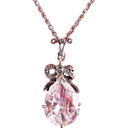Sterling Silver & Large Pear Teardrop CZ Solitaire Pendant with Marcasite Bow, Sterling Necklace